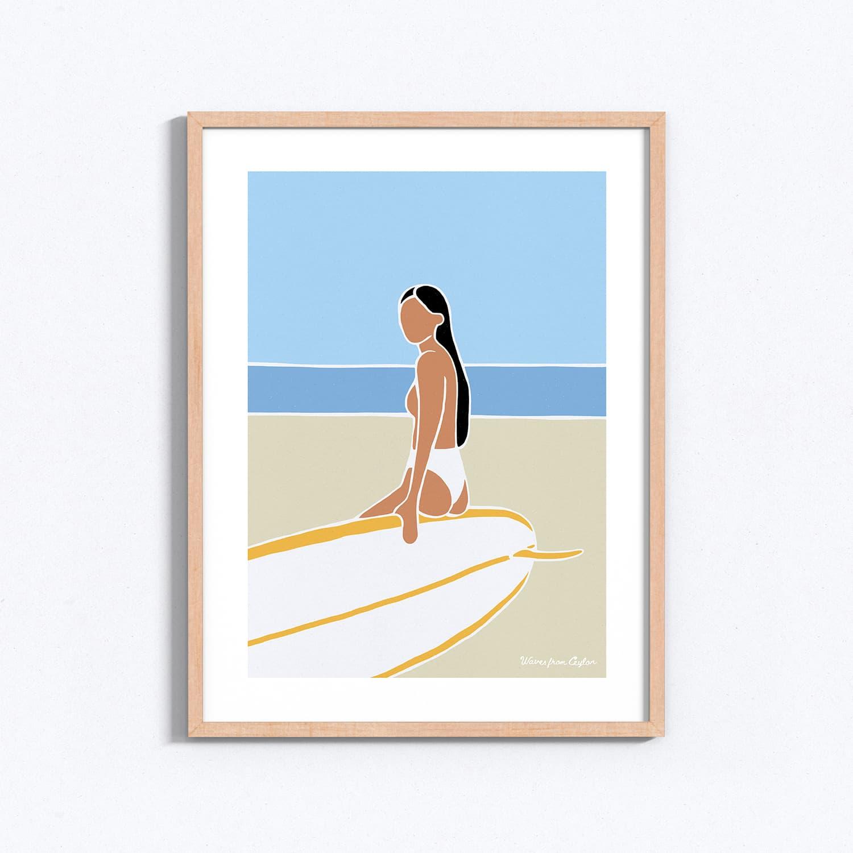 Beach & longboard - Illustration - Waves from Ceylon