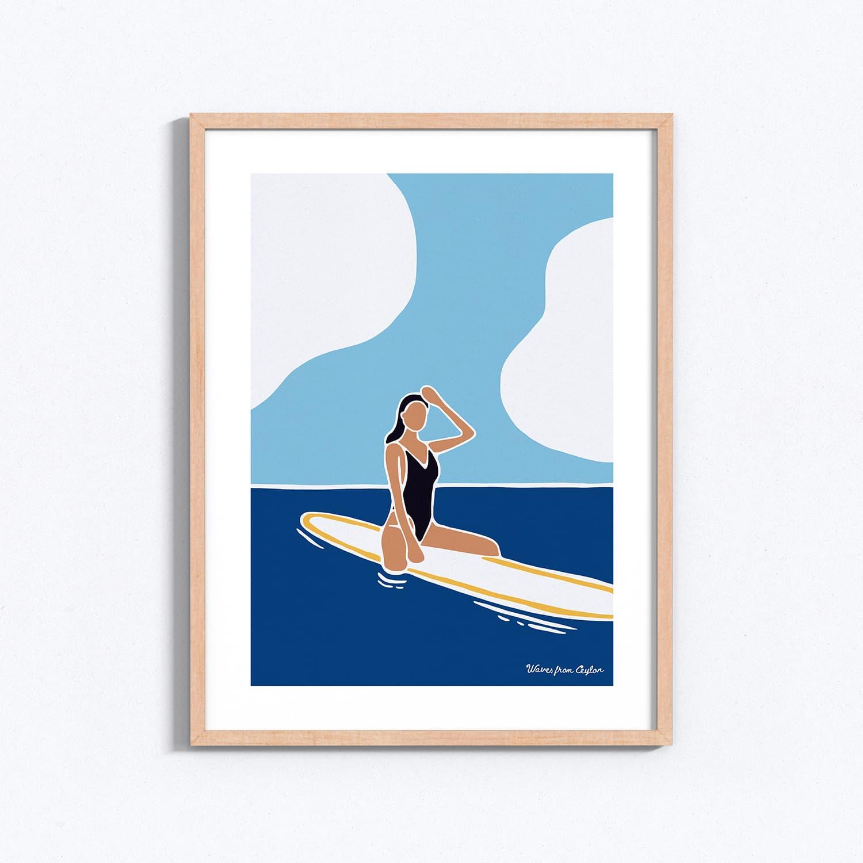Black swimsuit - Illustration - Waves from Ceylon
